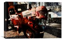 red rusted truck urban collage, Canvas Print
