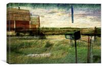 country landscape with red barn, Canvas Print