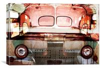 retro old bus collage, Canvas Print