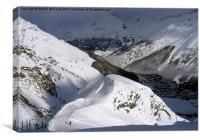 Skiing in Saas Fee, Canvas Print