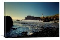Yaquina Lighthouse and Beach, No. 2, Canvas Print