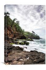 On the Rocks at Secret Beach - Kilauea - Kauai - H, Canvas Print