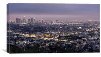 Los Angeles At Night From The Griffith Park Observ, Canvas Print