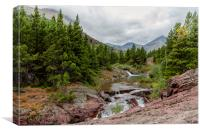 Upper Redrock Falls - Glacier NP, Canvas Print