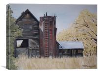 Golden Aged Autumn Barn, Canvas Print