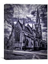 A stunning dramatic church view, Canvas Print