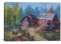 Crooked Red Barn, Canvas Print