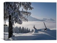 Fresh snow in the Alps, Canvas Print