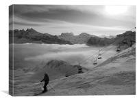 Lone skier, Canvas Print