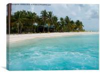 beach hut pacific island lagoon, Canvas Print