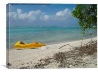 canoe on Aitutaki Lagoon, Canvas Print