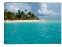 pacific island in aitutaki lagoon, Canvas Print