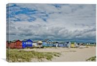 Mudeford spit beach huts, Canvas Print