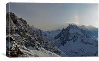 Mont Blanc and Aiguille du Midi, Chamonix, Canvas Print