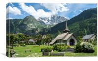 Alpine church, Les Praz, Chamonix, Canvas Print