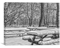 Picnic Tables In The Snow, Canvas Print