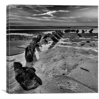 Old wreck on Bamburgh beach, Canvas Print