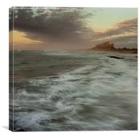 Stormy sea at Bamburgh, Canvas Print