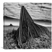 Boat hut and Lindisfarne Castle, Canvas Print