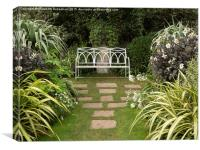 A Peaceful Seat in the White garden at Chenies , Canvas Print