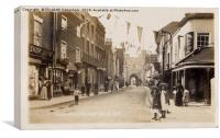 St Peter's Street and Westgate Towers, Canterbury, Canvas Print