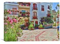 Flower Plaza in Lanjaron, Canvas Print