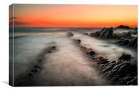 Red Sky Rocks, Canvas Print