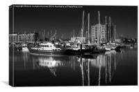 Marina Morning Mono, Canvas Print