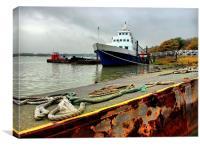 Hoo Marina, Kent, Boat Docked, Canvas Print