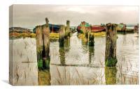 Hoo Marina, Kent, Wrecked Boats, Canvas Print
