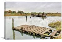 Hoo Marina, Kent, Wrecked Boat, Canvas Print