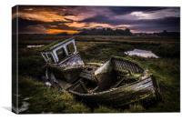 Abandoned fishing boat, Canvas Print