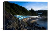 Meadfoot Imposing Cliffs  And Beach Huts, Canvas Print