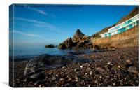 Meadfoot Beach Huts And Imposing Cliffs, Canvas Print