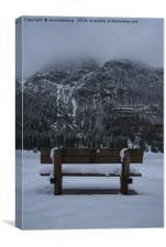 Lone Bench At Lago del Predil Italy, Canvas Print