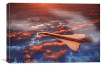 Concorde flying in a sunrise clouds, Canvas Print