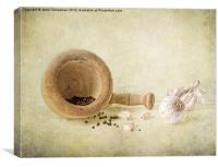 Garlic & peppercorns, Canvas Print