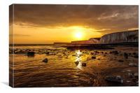 Sunset, Birling Gap, East Sussex, Canvas Print