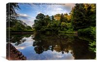 Reflections In Cockington Lake, Canvas Print