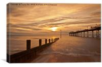 Teignmouth Pier Sunrise. , Canvas Print