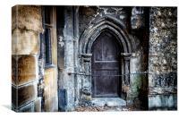 Medieval Monks Door, Canvas Print