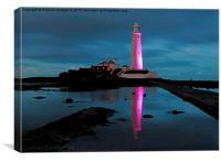 St Marys Lighthouse, Pretty in Pink, Canvas Print