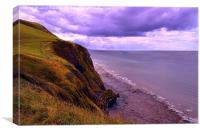 Borth Cliffs, Coastal View, Wales, Canvas Print