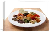 A plate of spices, Canvas Print