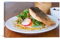Salmon fillet resting on salad, Canvas Print