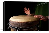 Drummer playing djembe drum, Canvas Print