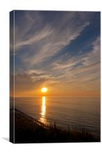 Swirling clouds seascape sunset, Canvas Print