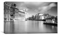 Amsterdam Scene B&W, Canvas Print