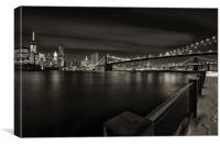 Brooklyn Bridge & Manhattan., Canvas Print