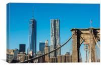 Manhattan from the Bridge., Canvas Print